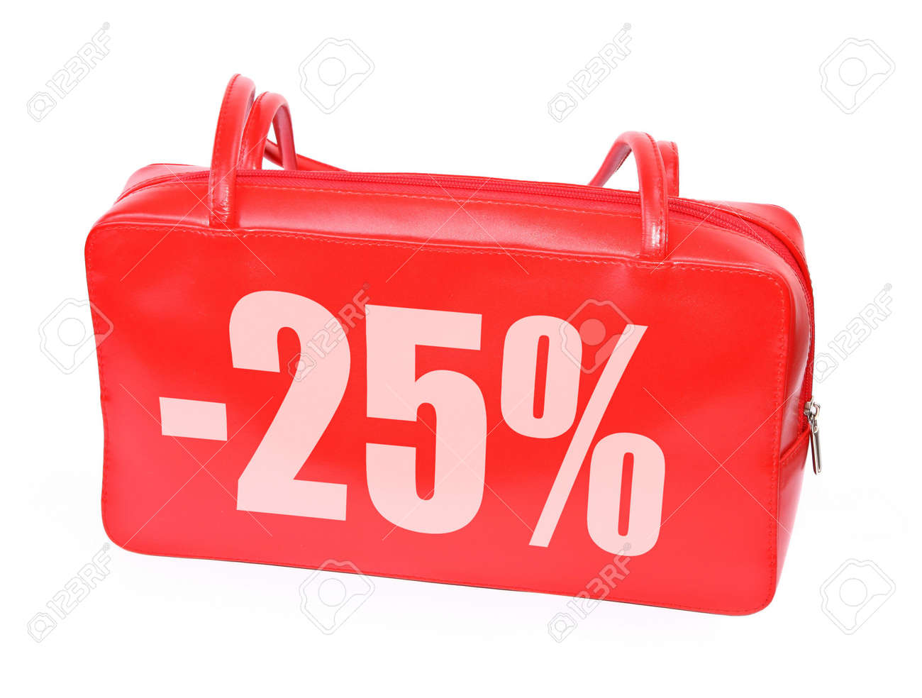 red leather handbag with sale sign on white background, photo does not infringe any copyright Stock Photo - 2643136