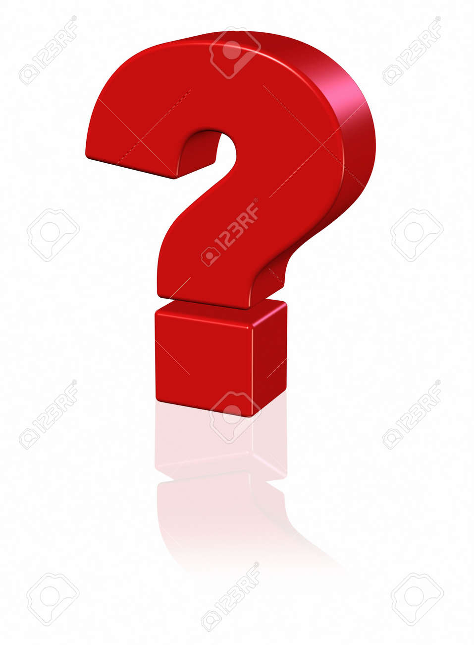 3D red question mark with reflection on white Stock Photo - 3829171
