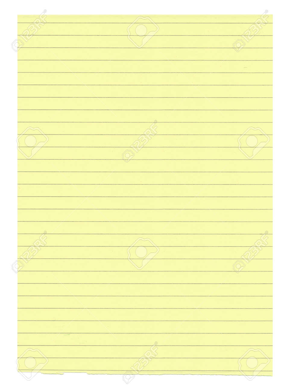 xxxl size yellow lined paper isolated on white background stock