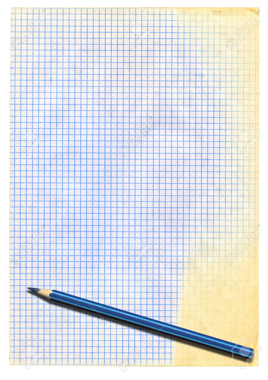 yellowed squared paper and pencil on white Stock Photo - 9184426