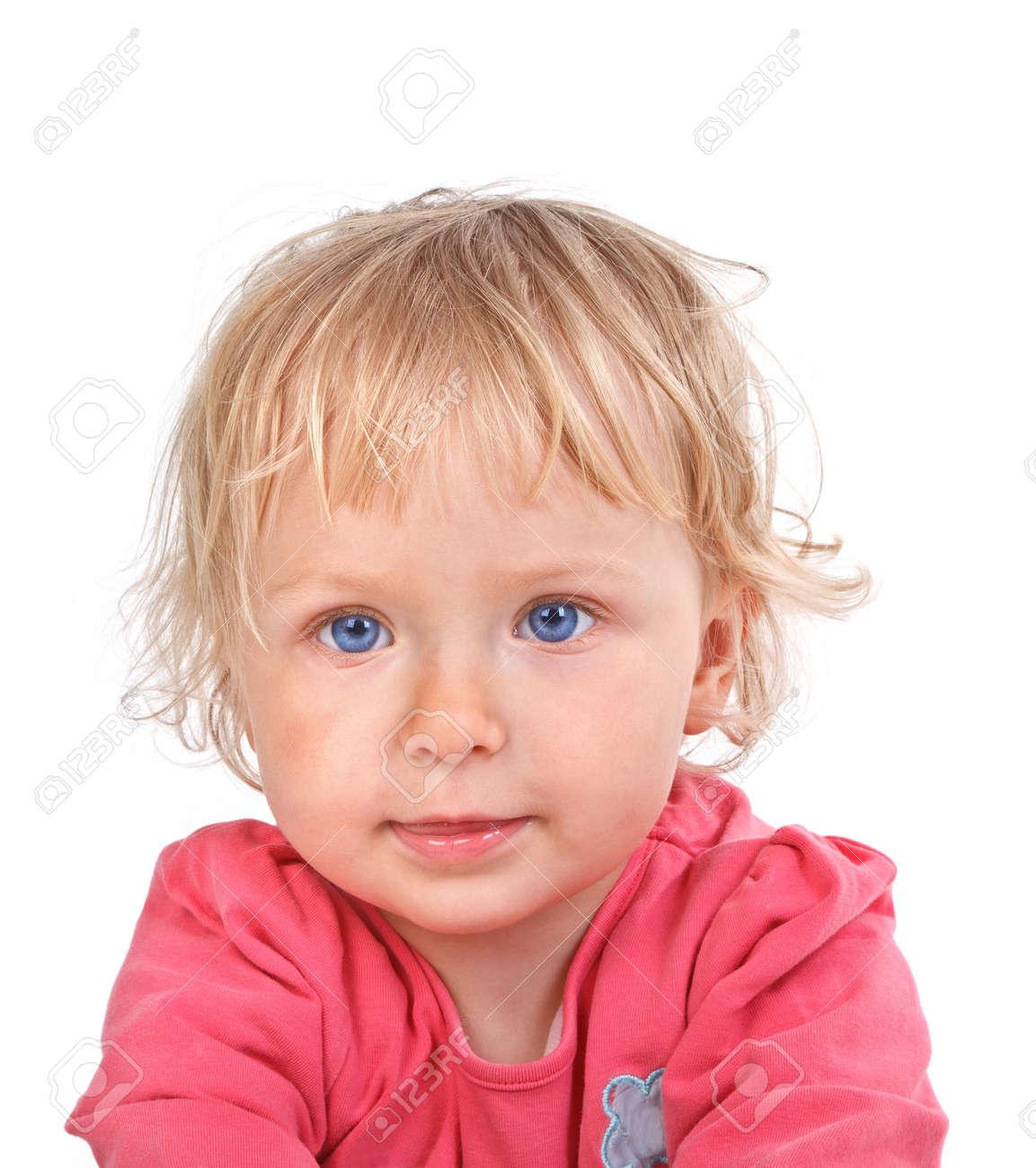 portrait of little girl on white background Stock Photo - 16671952