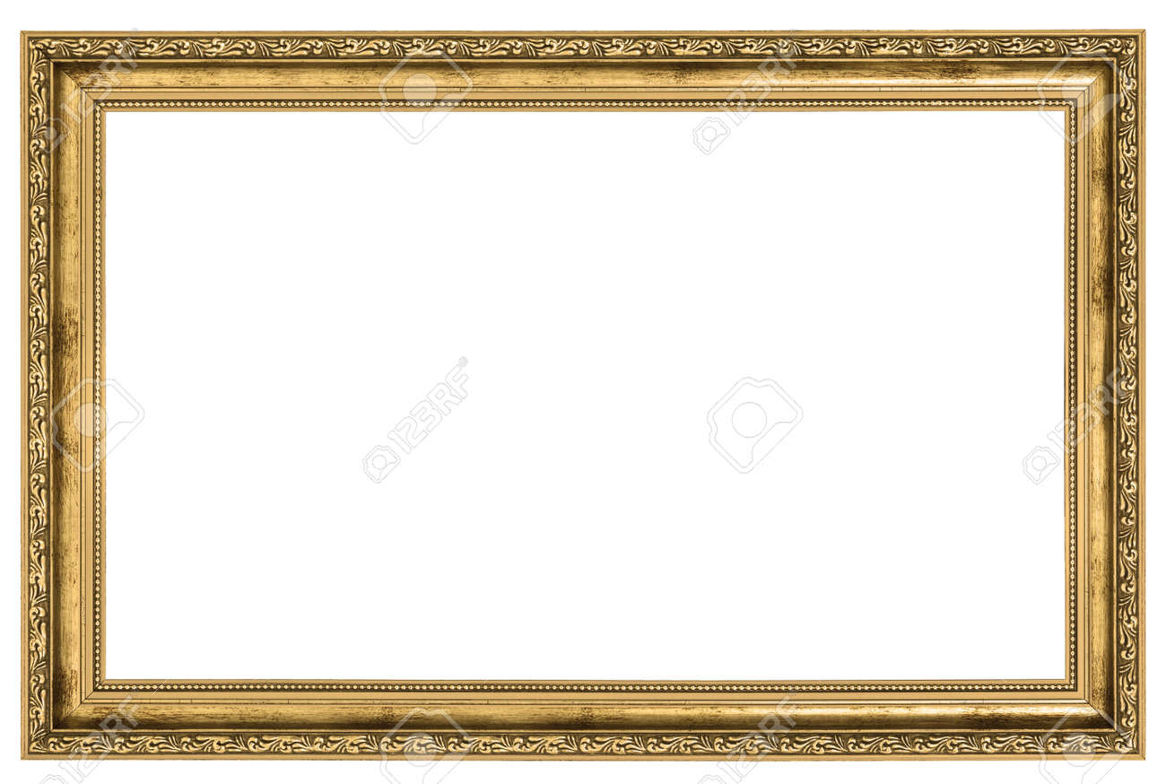 Large Golden Frame Isolated On White Background Stock Photo, Picture ...