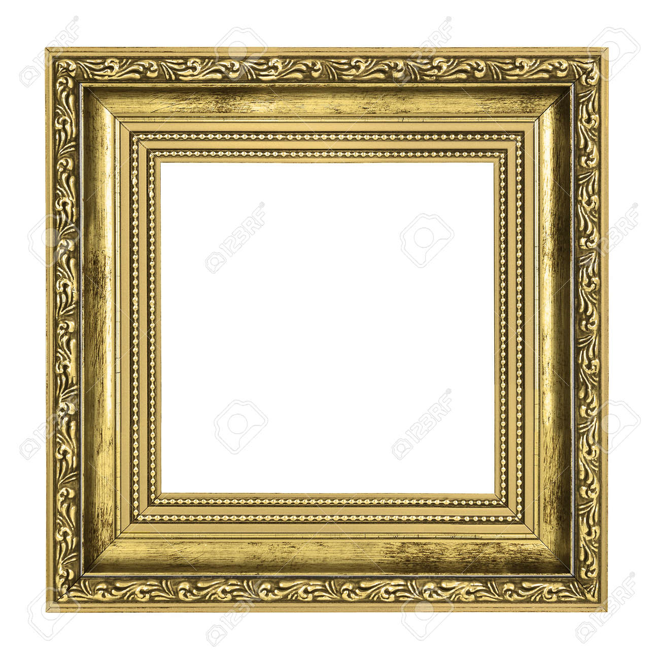 gold picture frame border  Golden Frame With Thick Border Isolated On White Background Stock ...