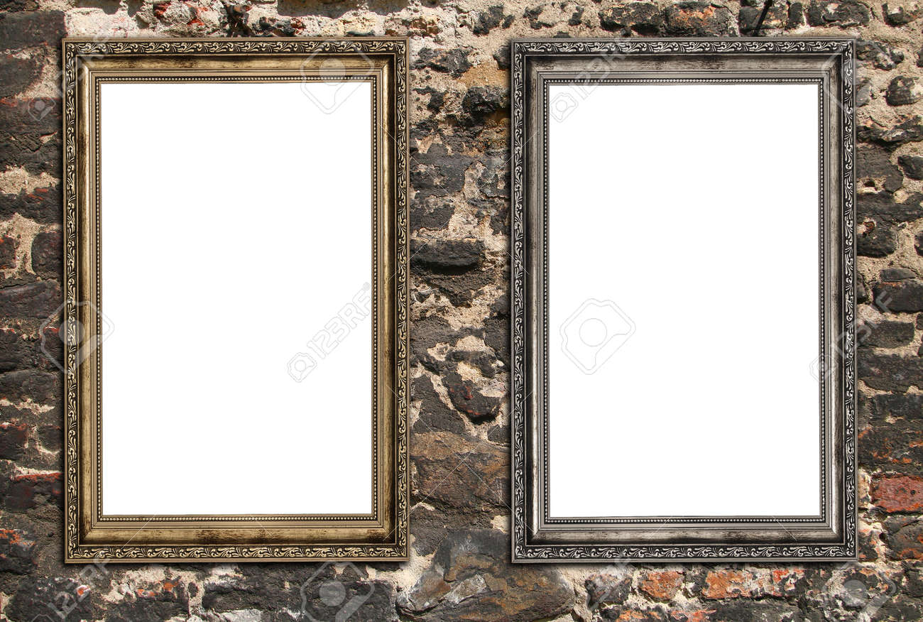 Multiple empty picture frames front view of multiple blank multiple empty picture frames two empty wooden frames over ruined brick wall stock photo jeuxipadfo Images
