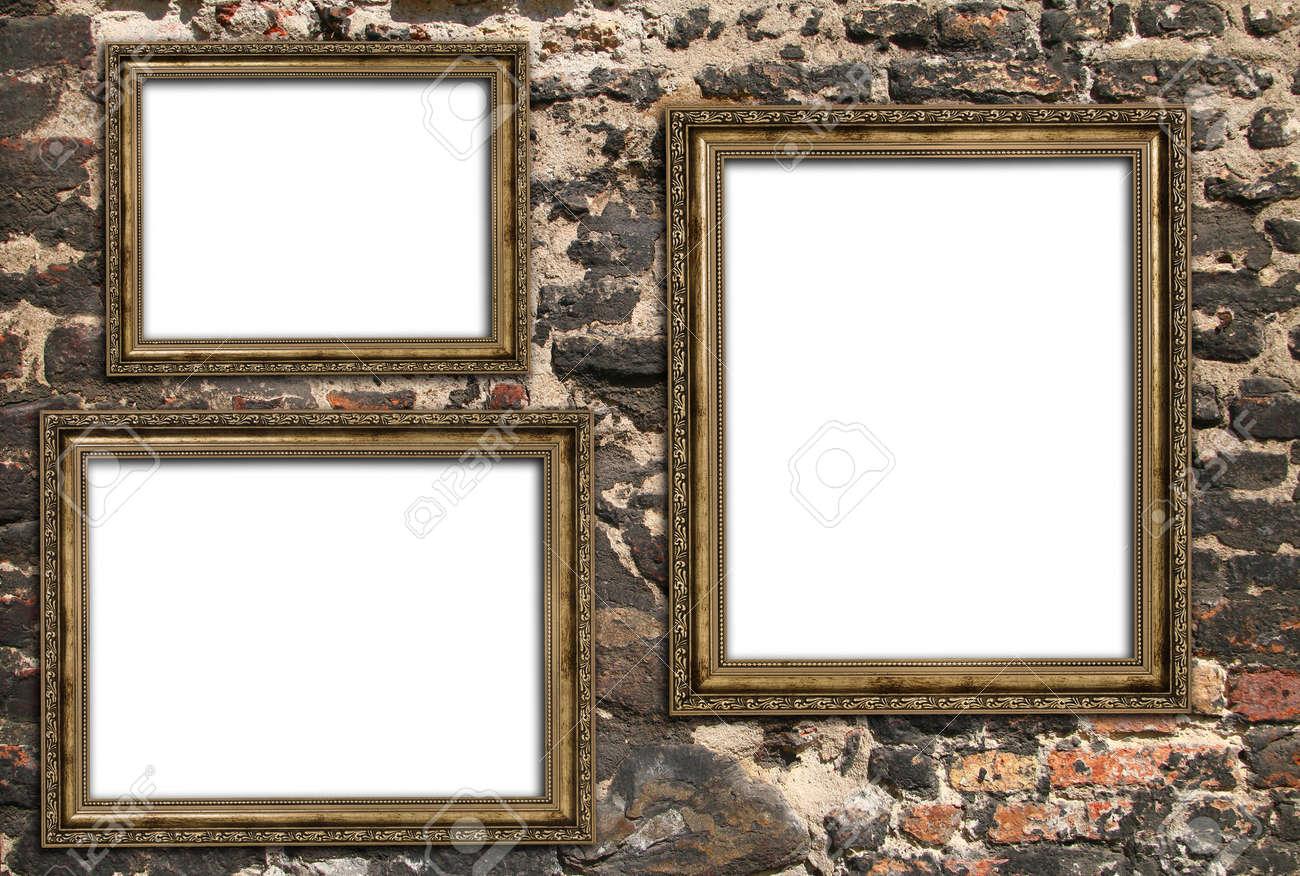 Three Empty Wooden Frames Over Ruined Brick Wall Stock Photo ...