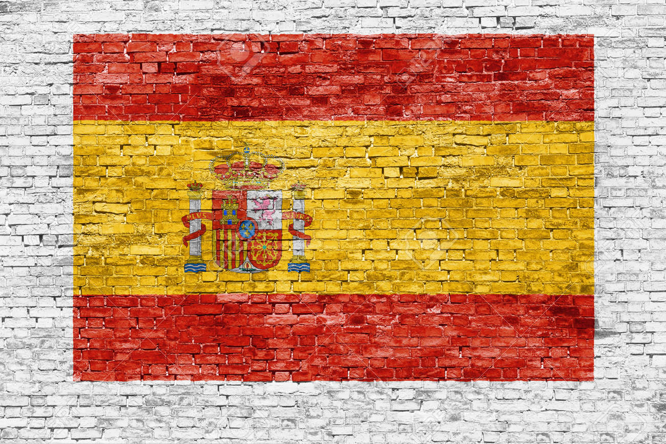 Spanish Flag Painted On White Brick Wall Stock Photo, Picture And ...
