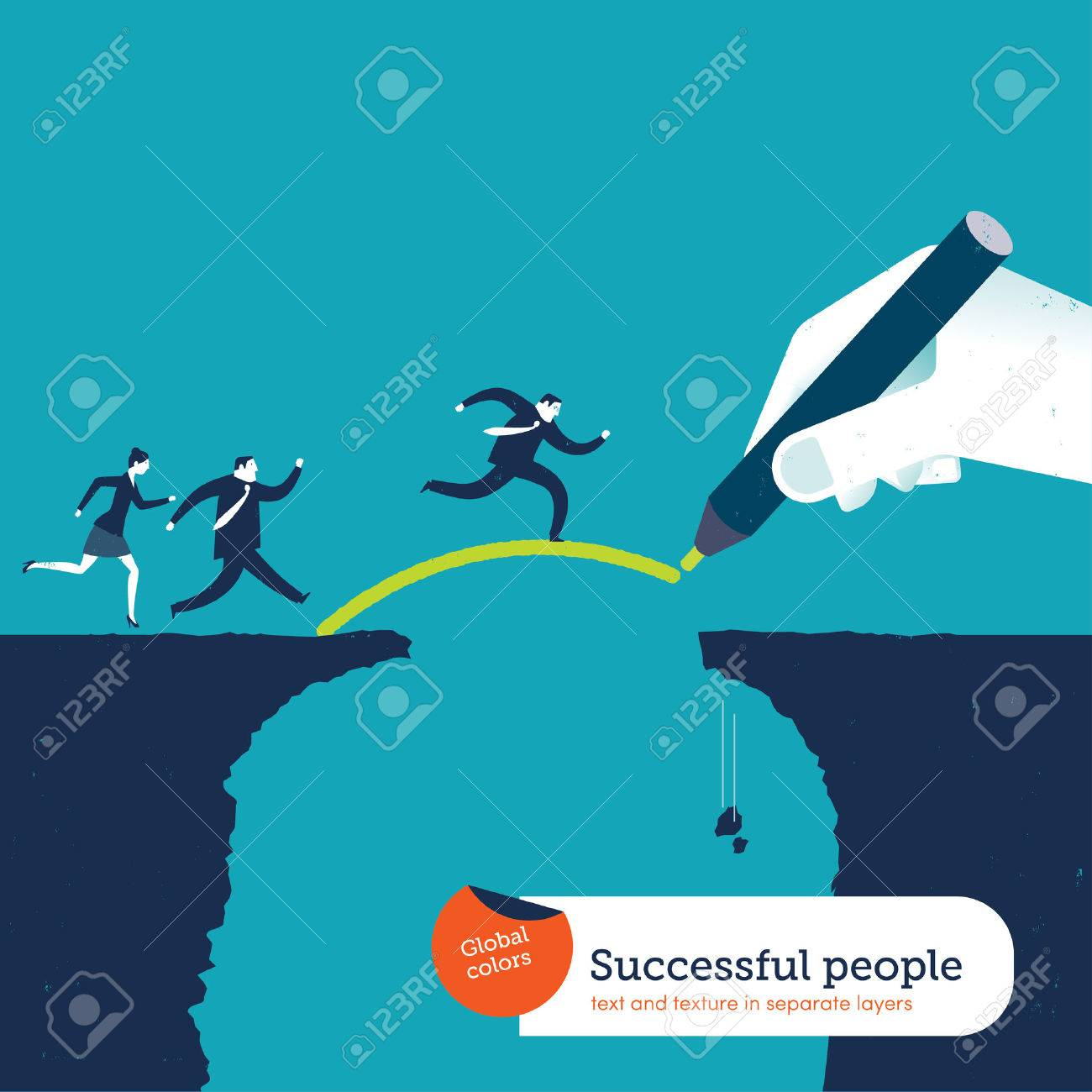 Hand drawing a bridge over an abyss for businesspeople - 34173377