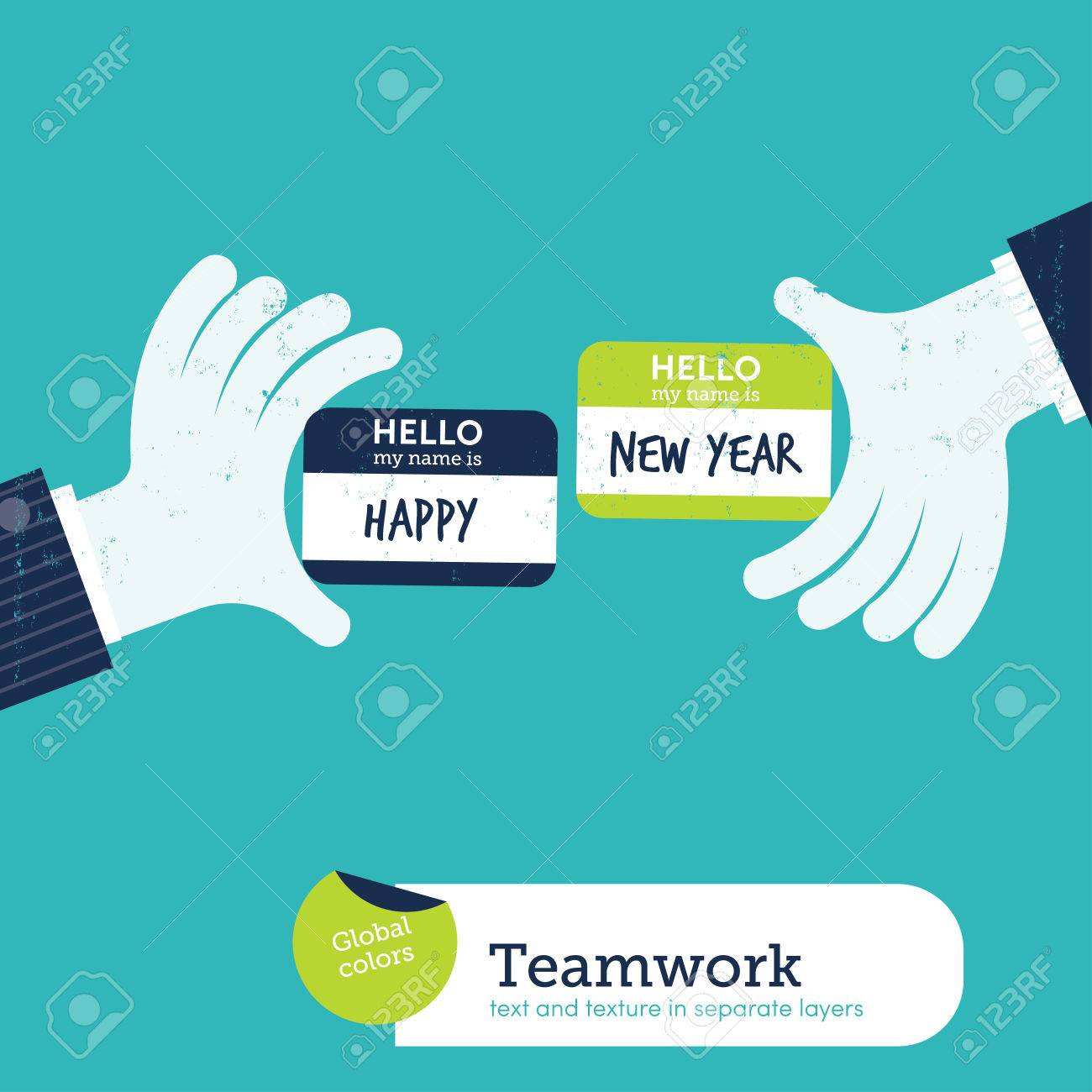 two hands exchanging visit cards with my name card is happy new year vector illustration