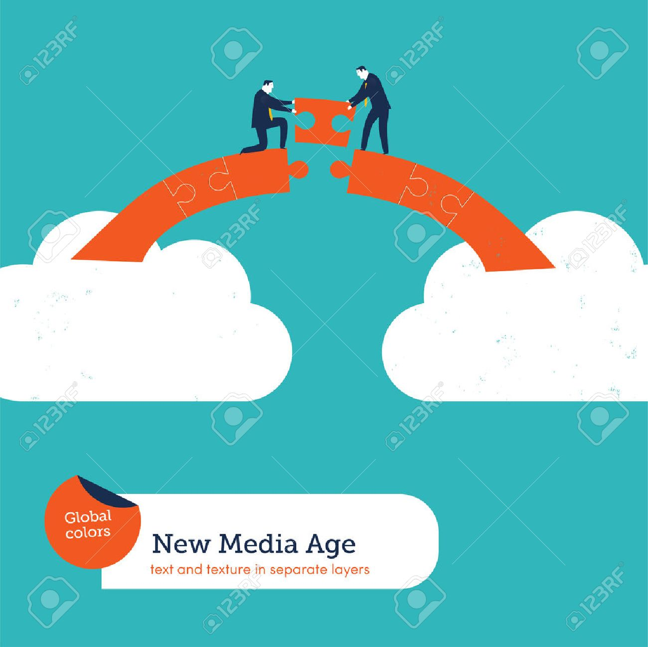 Businessmen building a puzzle bridge from cloud to cloud. Vector illustration Eps10 file. Global colors. Text and Texture in separate layers. - 35308976