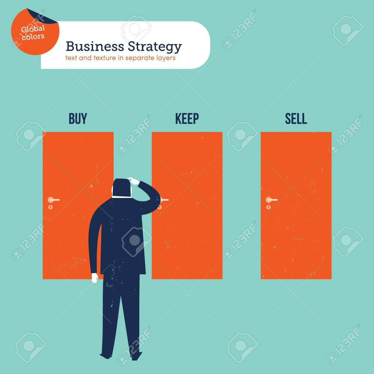 Businessman in front of three doors buy sell keep. Vector illustration file. Global colors  sc 1 st  123RF.com & Businessman In Front Of Three Doors Buy Sell Keep. Vector ...