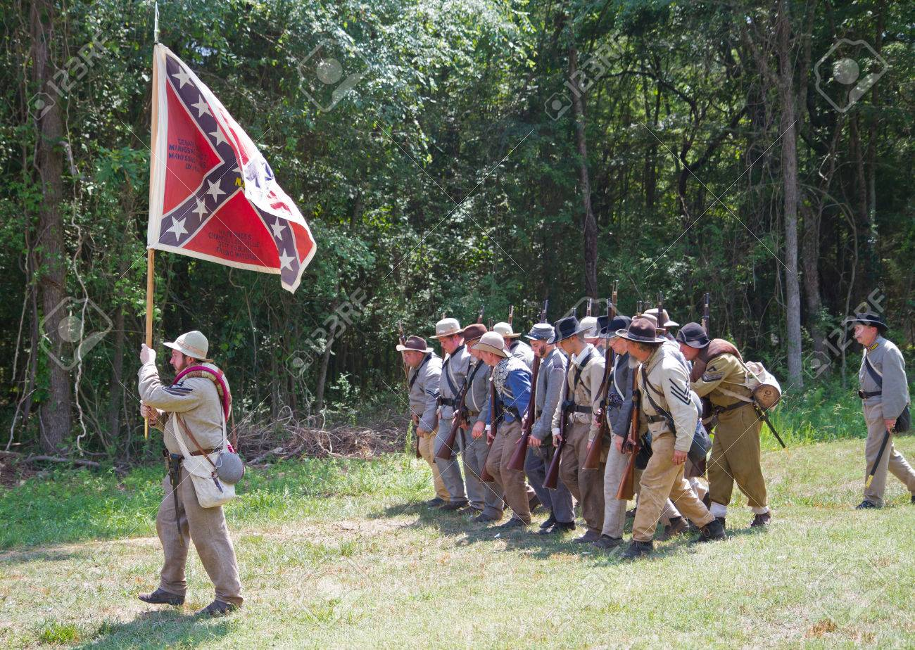 HUNTERSVILLE, NC - JUNE 6 2015: Reenactors in Confederate uniforms