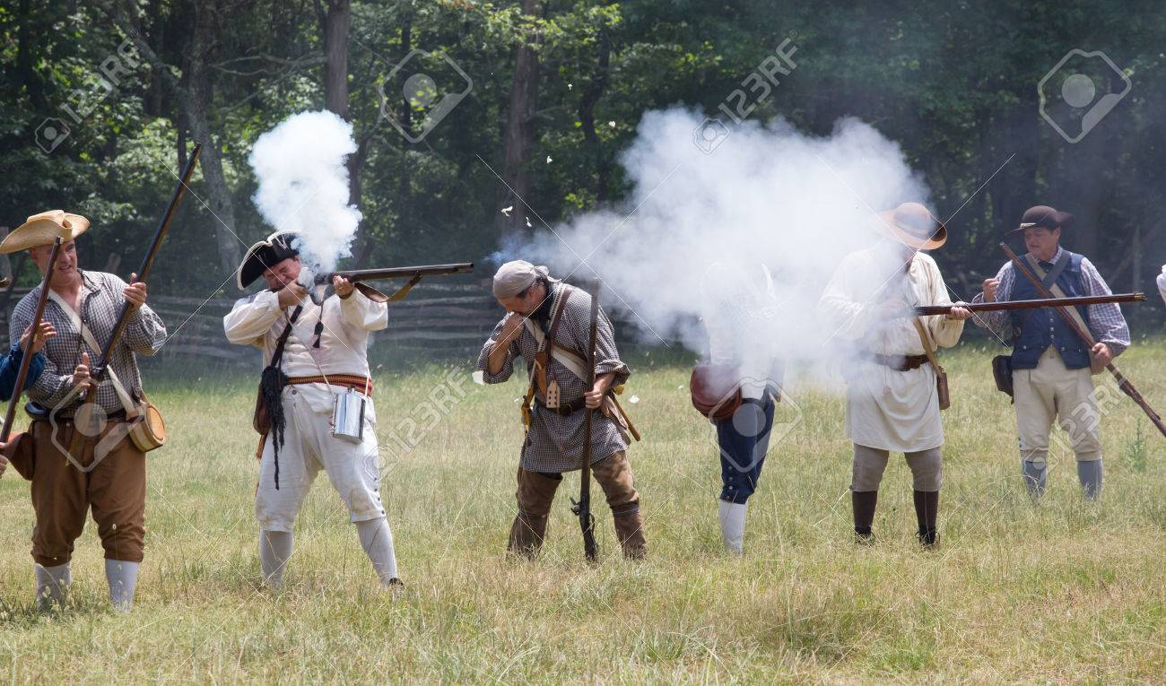 MCCONNELLS, SC - July 11, 2015: American Revolutionary War reenactors
