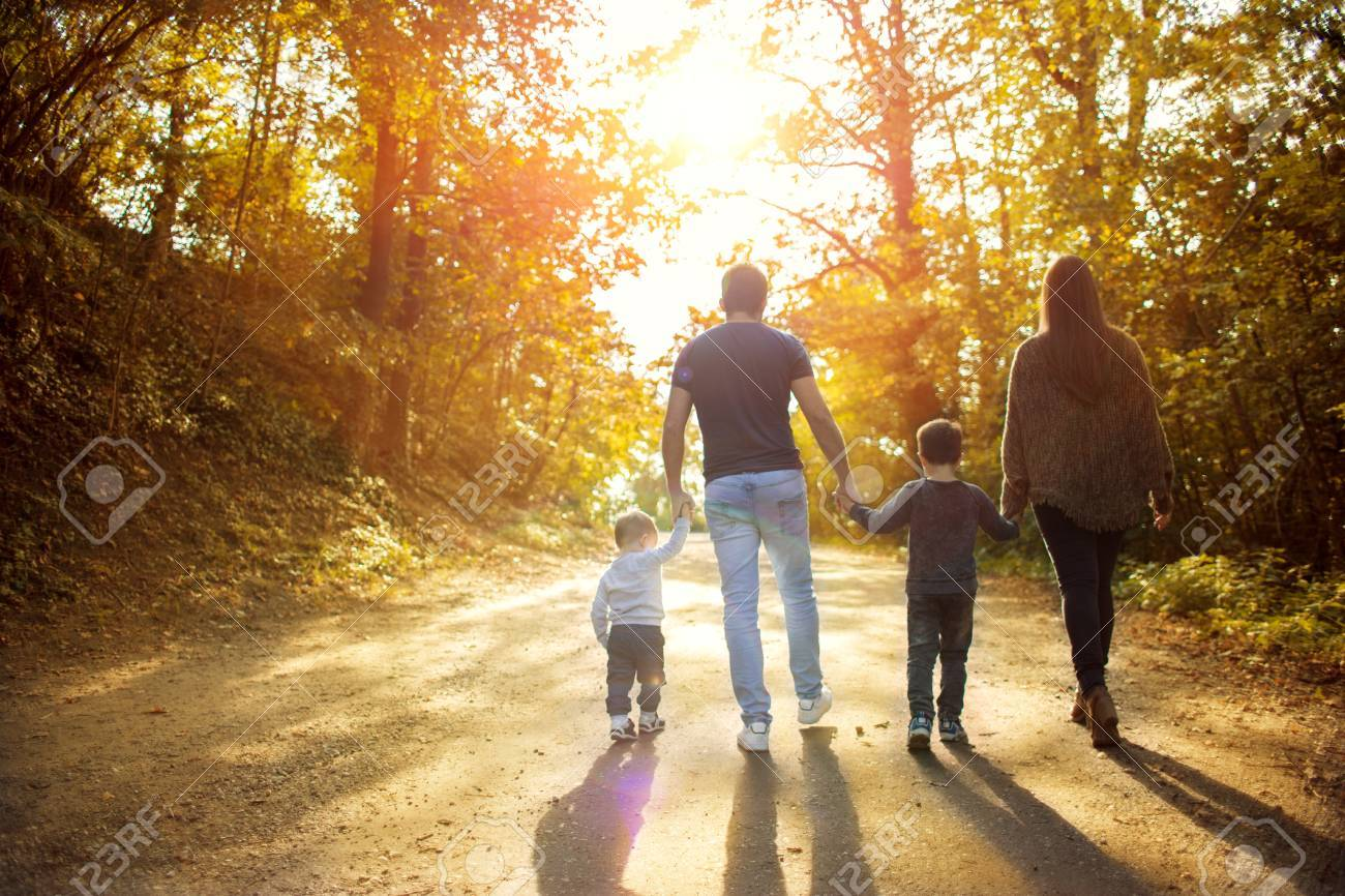 Happy family walking in the forest at sunset holding hands looking away from camera stock photo