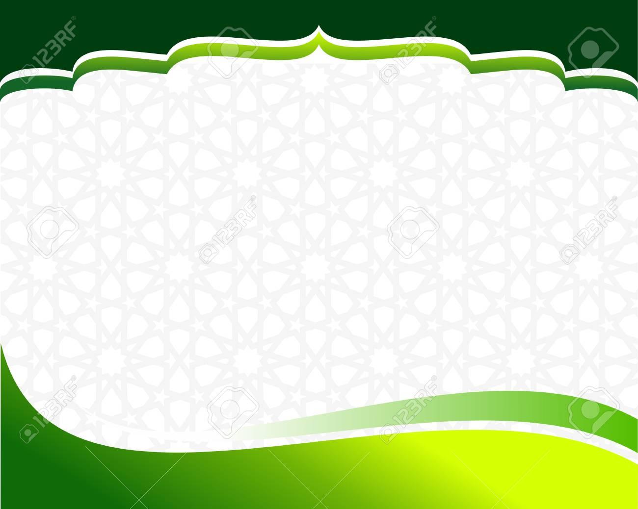 islamic green border design template stock vector 98747744