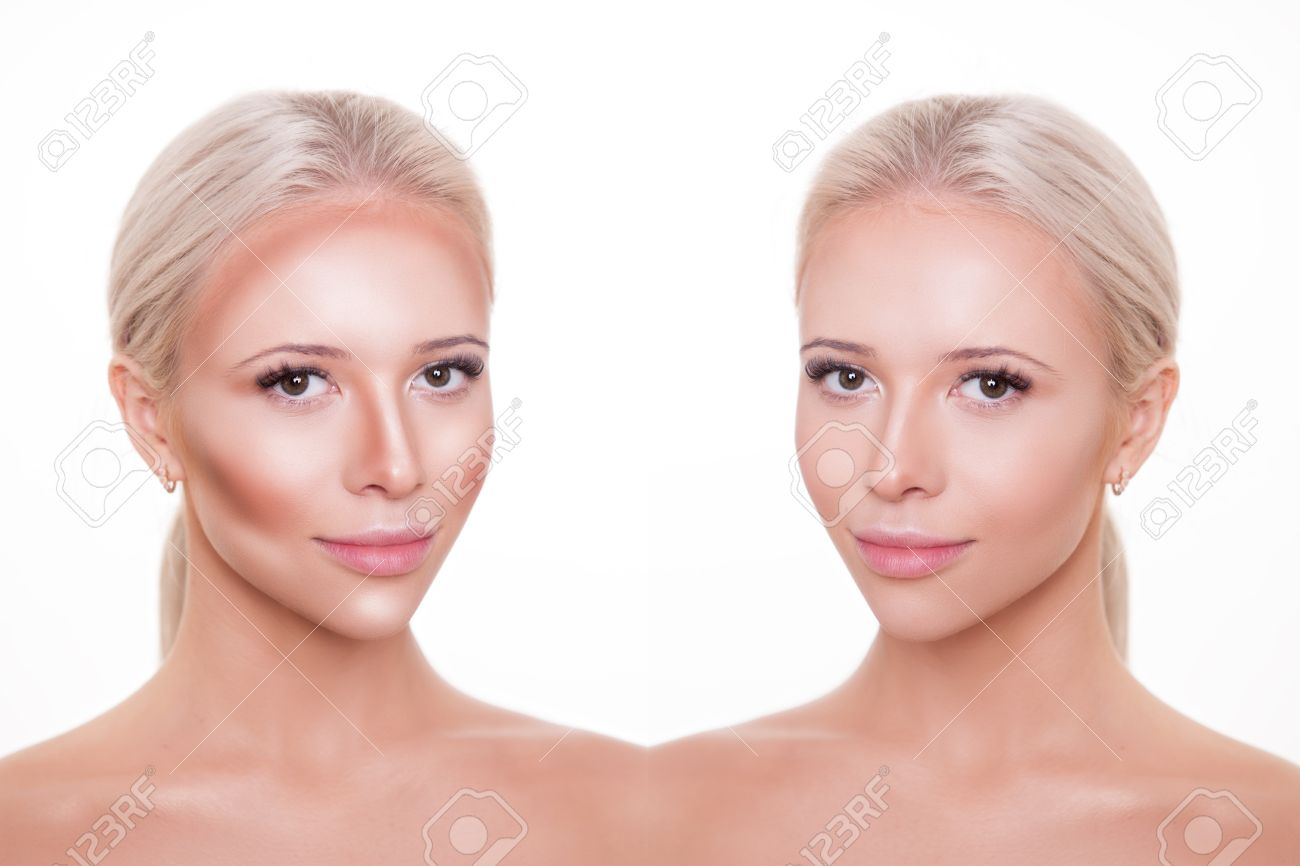 divided woman face before and after blending contour and highlight
