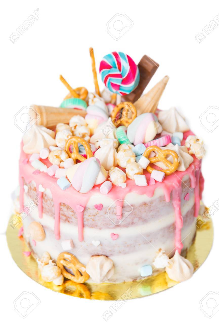 Fine Birthday Cake With Decorated With Candies Lollipop Marshmallows Funny Birthday Cards Online Elaedamsfinfo