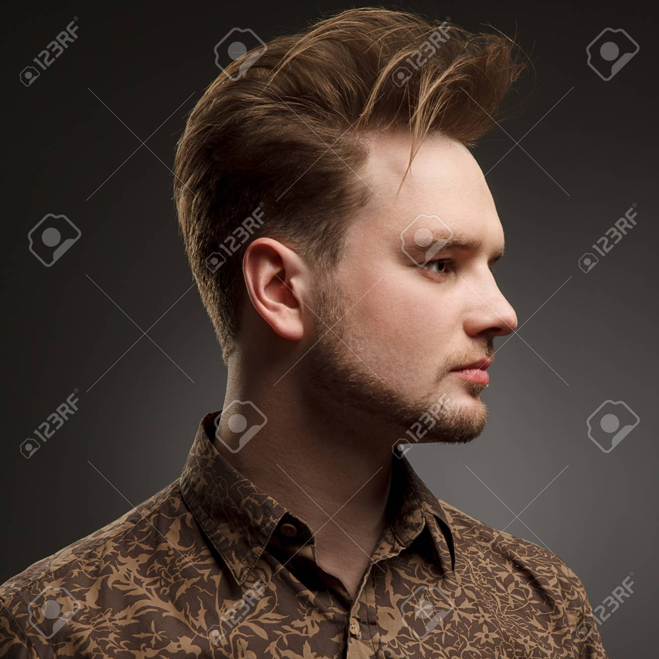 Man Haircut Stylish Young Man With Trendy Hairstyle Pose In Stock