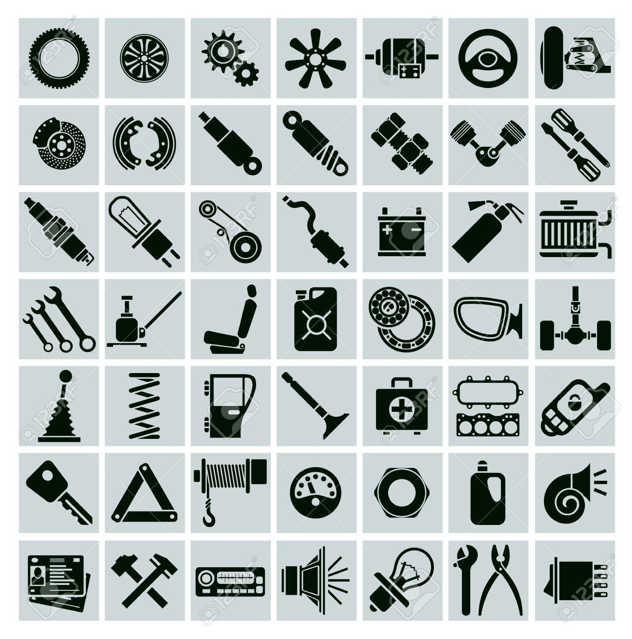 Car Parts Tools And Accessories Set Of Vector Icons Royalty Free