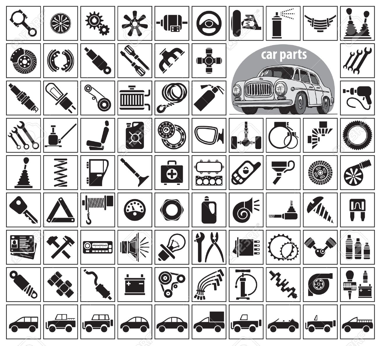 Car Parts, Tools And Accessories. Eighty Four Icons And One Image ...