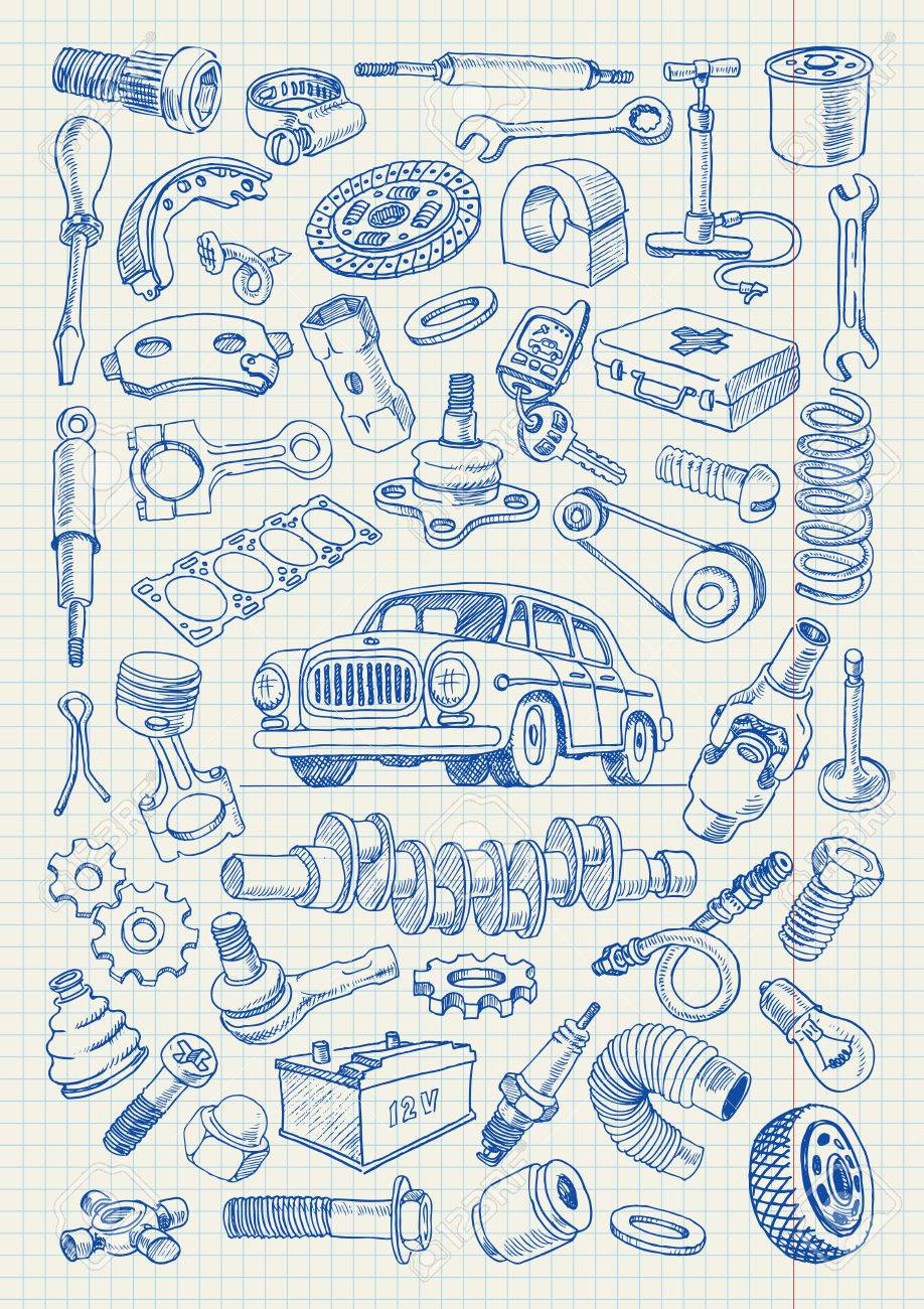 Car Parts In Freehand Drawing Style. Set Of Vector Illustrations ...