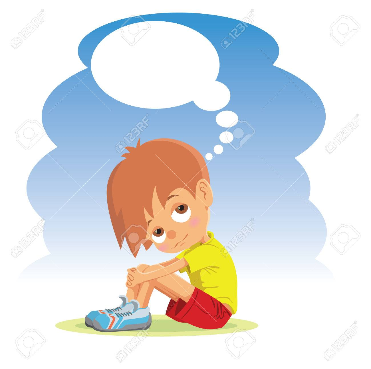 Sad boy thinking about something stock vector 48895340