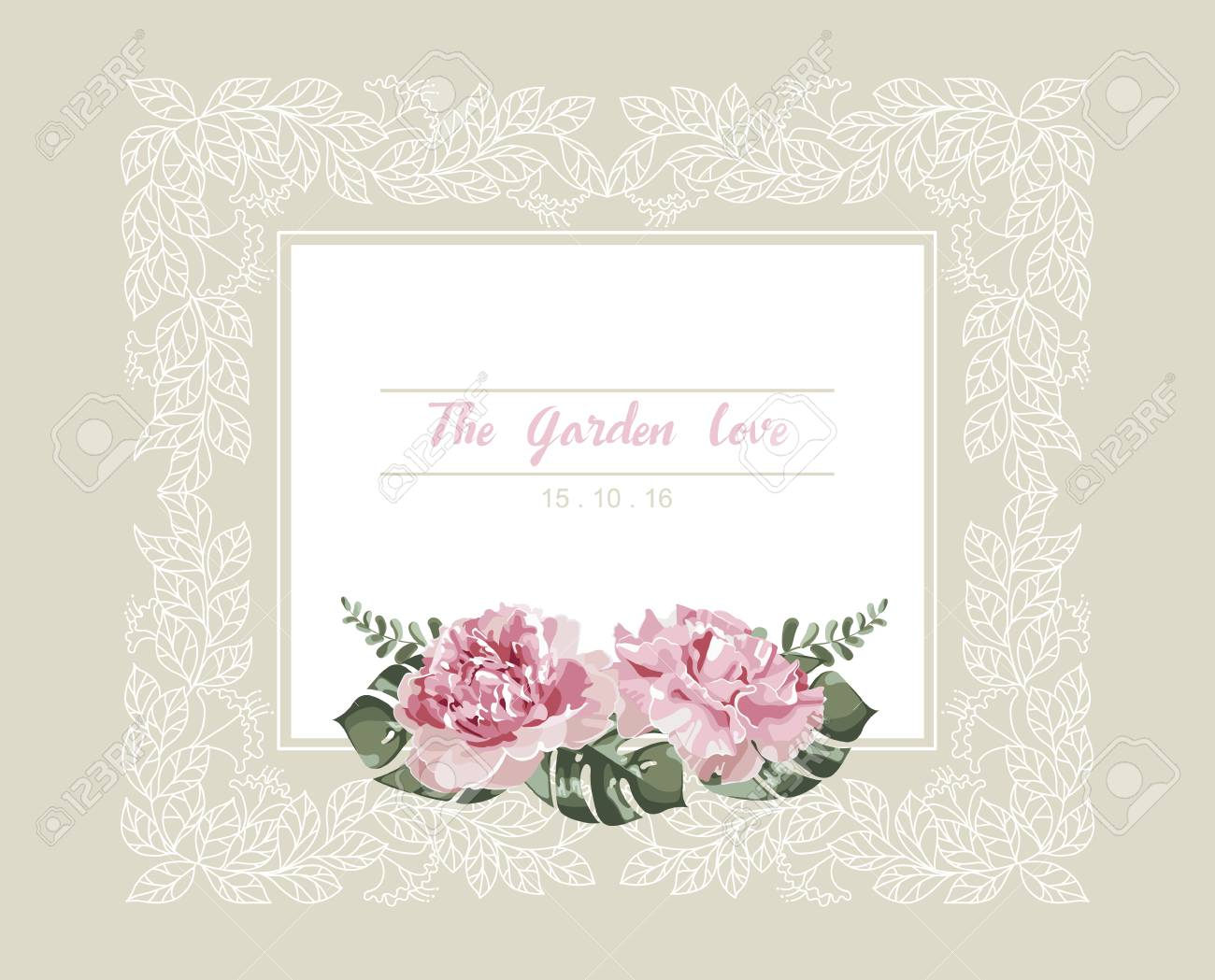 Romantic Wedding Invitation. Vintage Card With Pink Flowers And ...