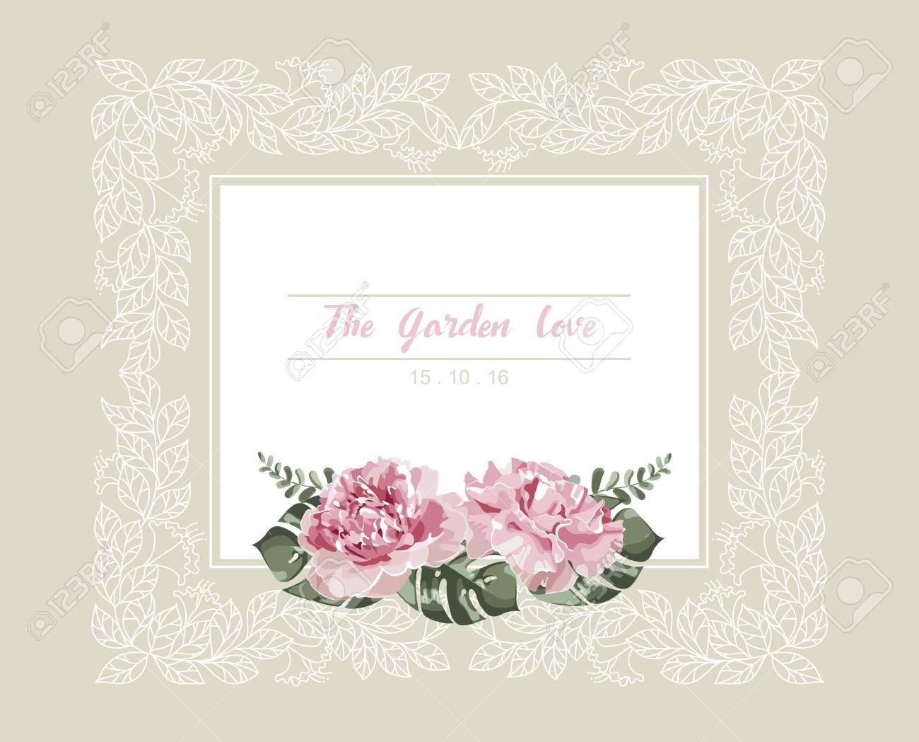 Romantische Hochzeitseinladung Vintage Karte Mit Rosaen Blumen Und