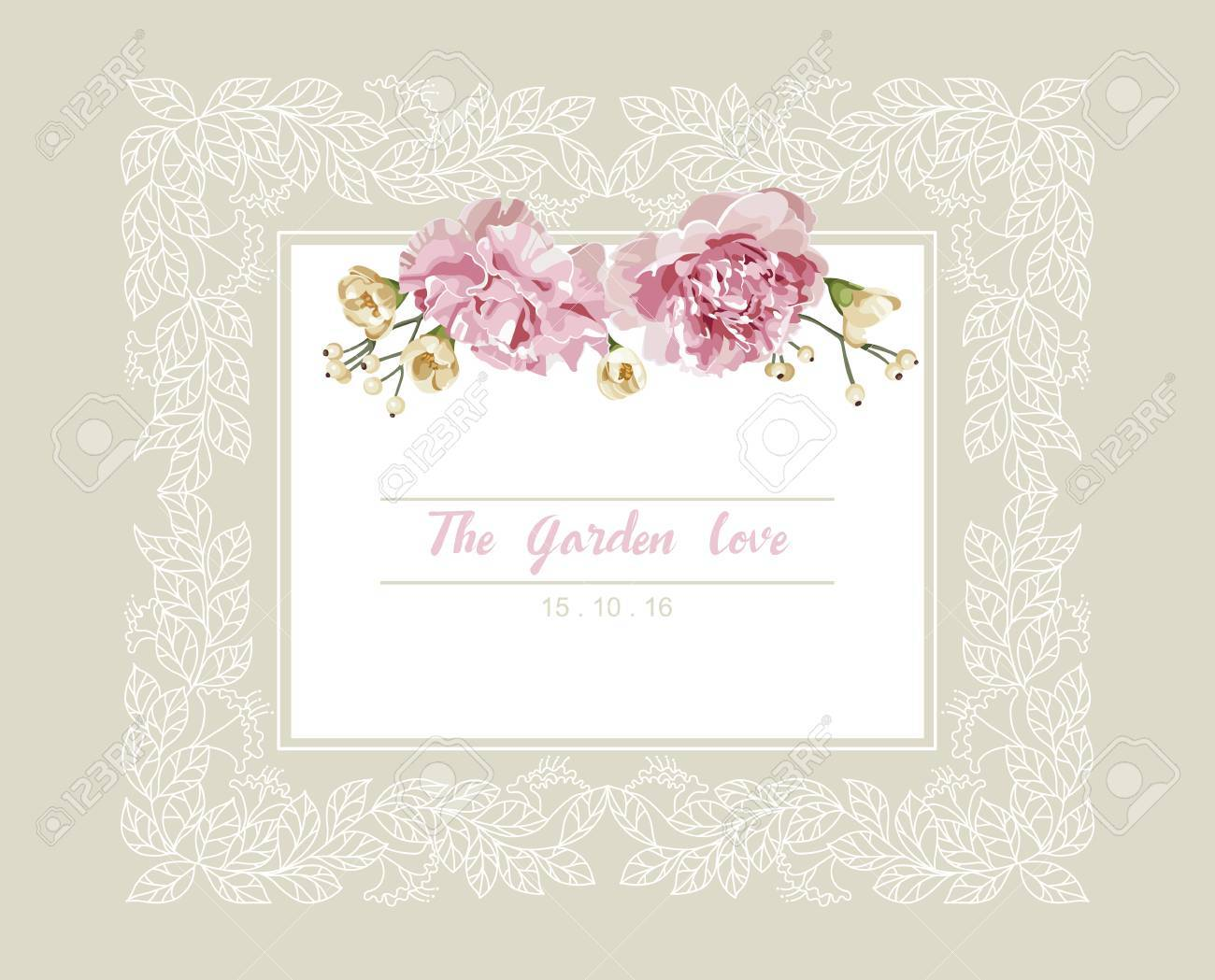 Romantic Wedding Invitation. Vintage Card With Pink And Yellow ...