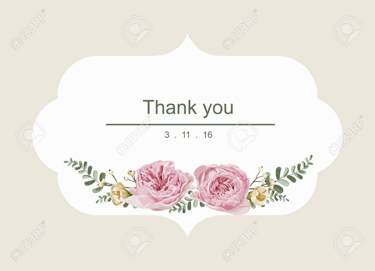 Romantic Card With Vintage Flowers And White Vintage Background