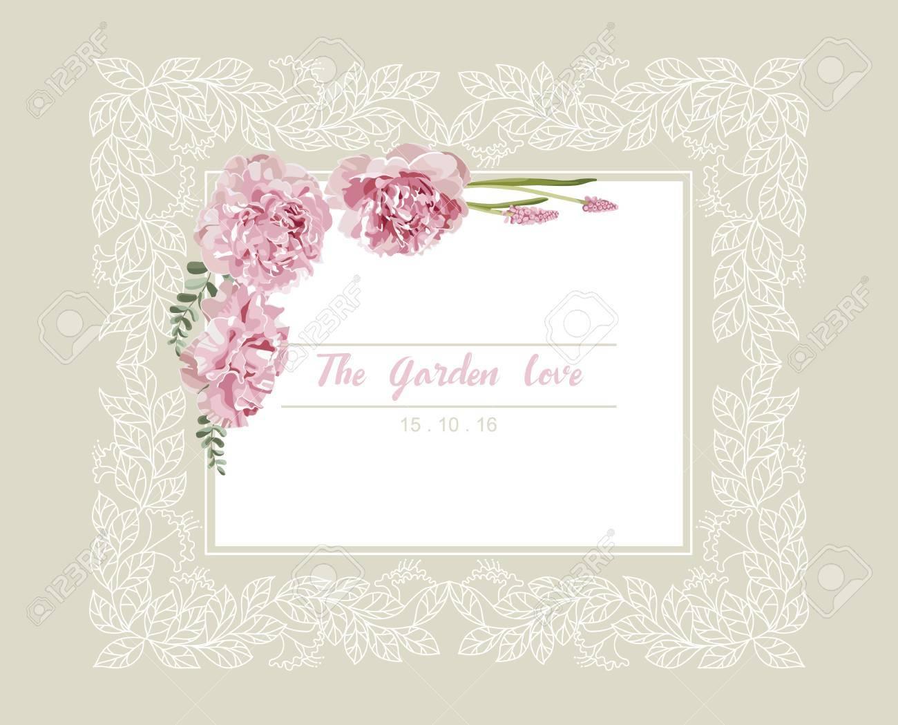 Romantische Hochzeitseinladung Vintage Karte Mit Rosa Und Gelben
