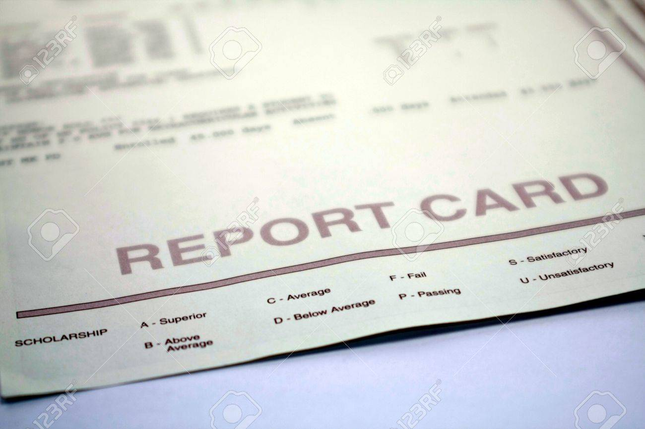 Report Card for Student on White Background Stock Photo - 8434864