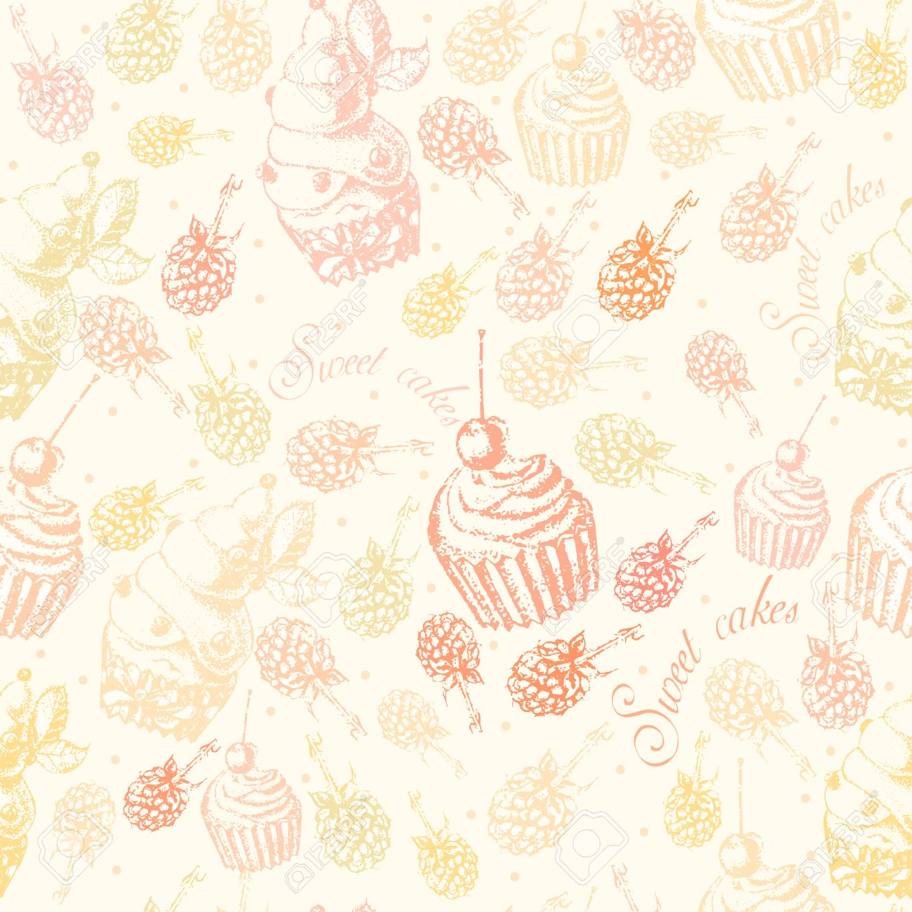Cute Seamless Pattern Sweet Cake On A Light Background Stock Vector 33260006