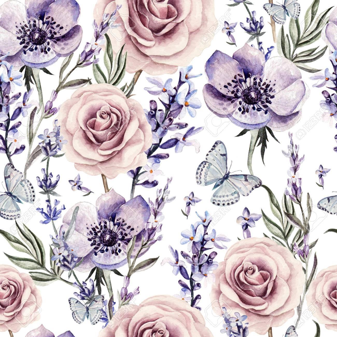 Motif D Aquarelle Avec Les Couleurs De Lavande Des Roses Et Des