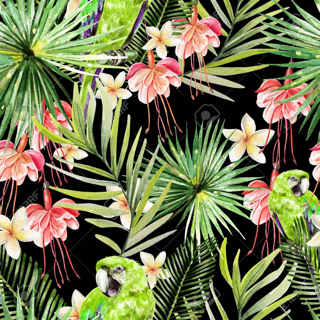 Beautiful Watercolor Seamless Tropical Jungle Floral Pattern