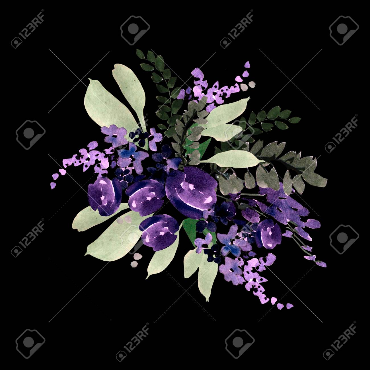 Beautiful watercolor wedding bouquet with purple flowers beautiful watercolor wedding bouquet with purple flowers illustration stock illustration 96132464 izmirmasajfo
