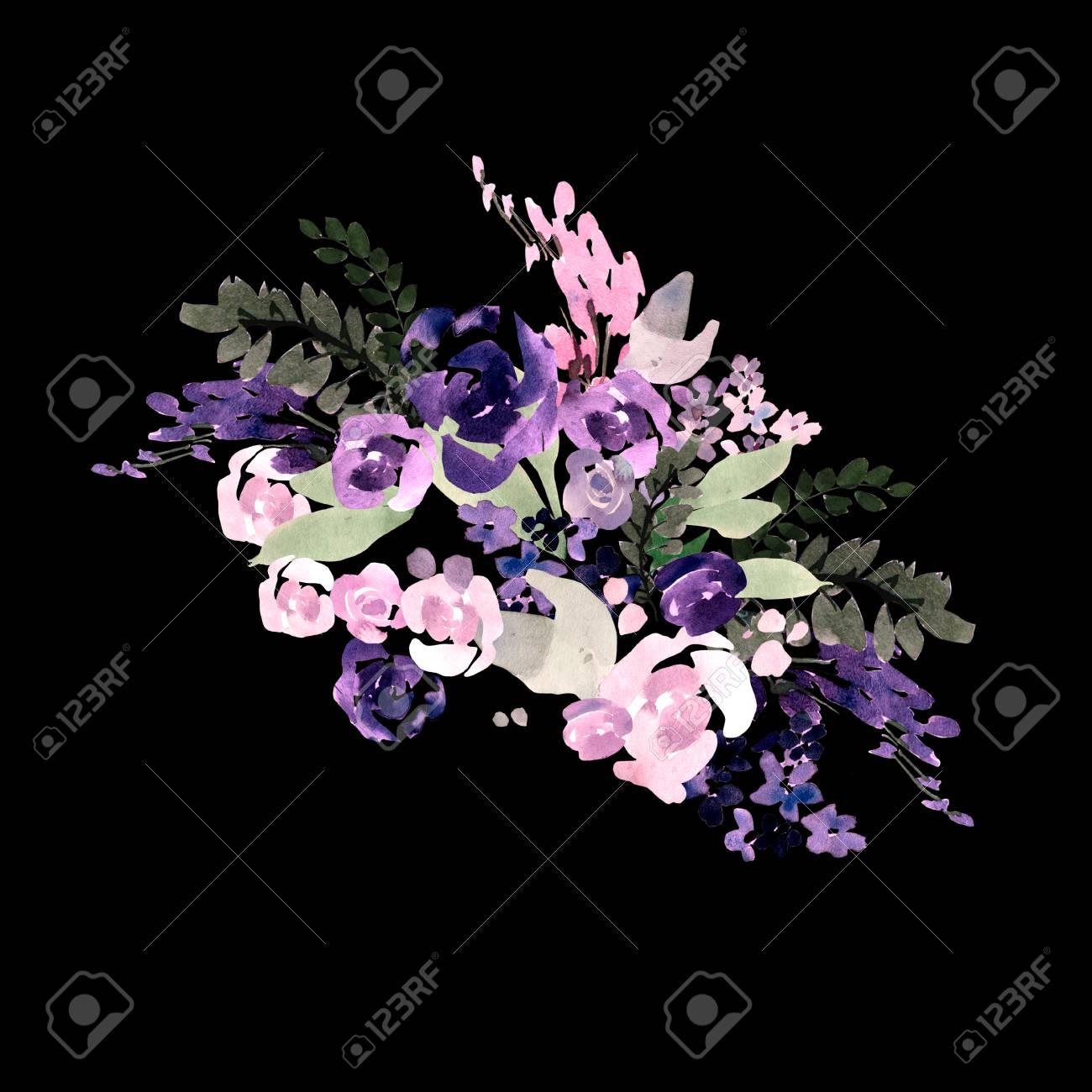 Beautiful watercolor wedding bouquet with purple flowers beautiful watercolor wedding bouquet with purple flowers illustration stock illustration 97550185 izmirmasajfo