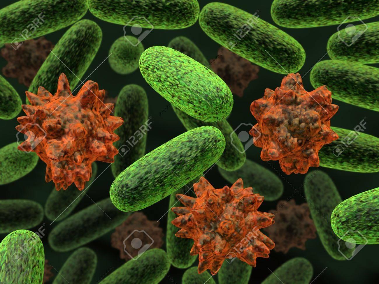 3d rendered bacteria illustration concept. Stock Illustration - 6576073