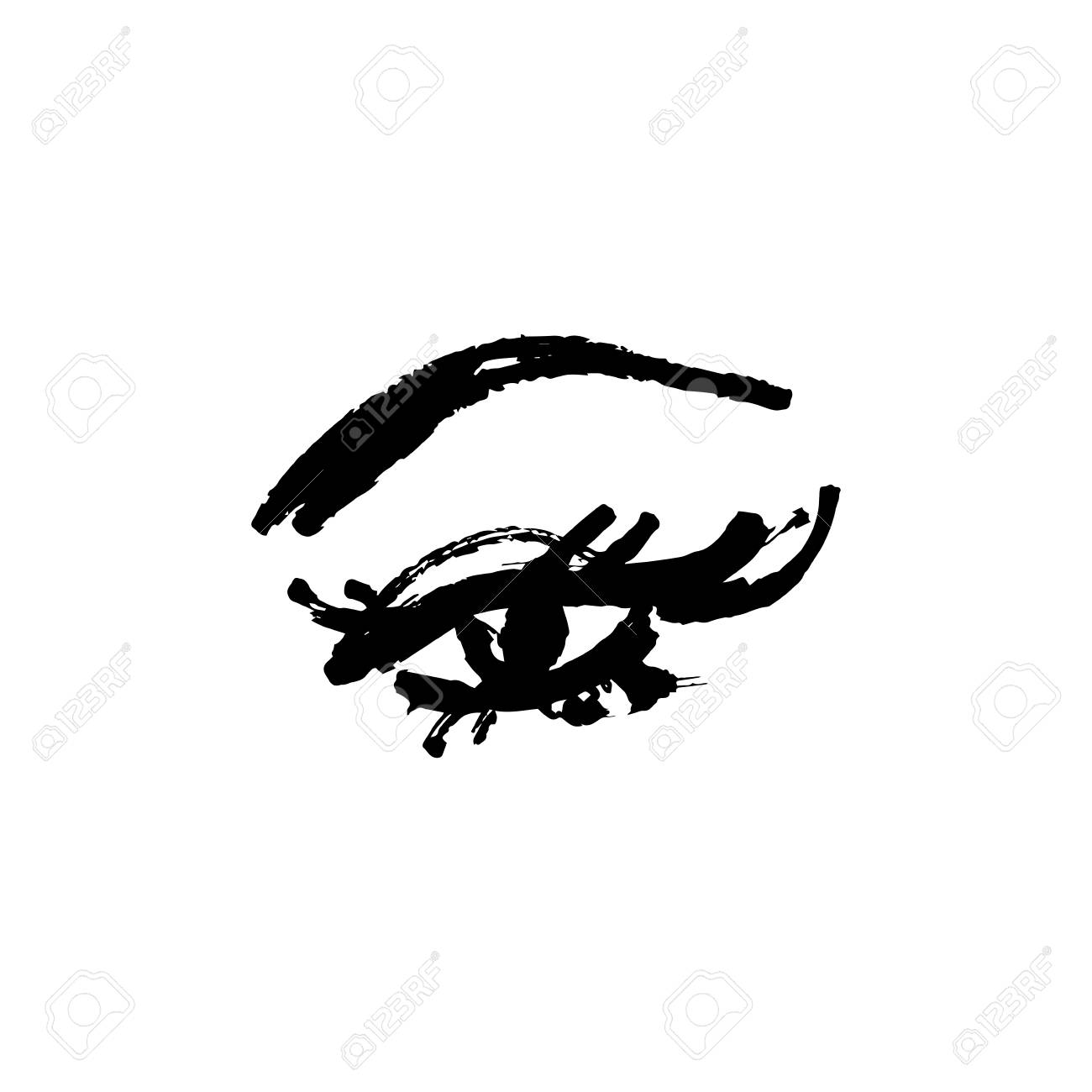 Eye and yelashes logo. Stylized hand drawn art. Abstract black and white vector illustration - 115939764