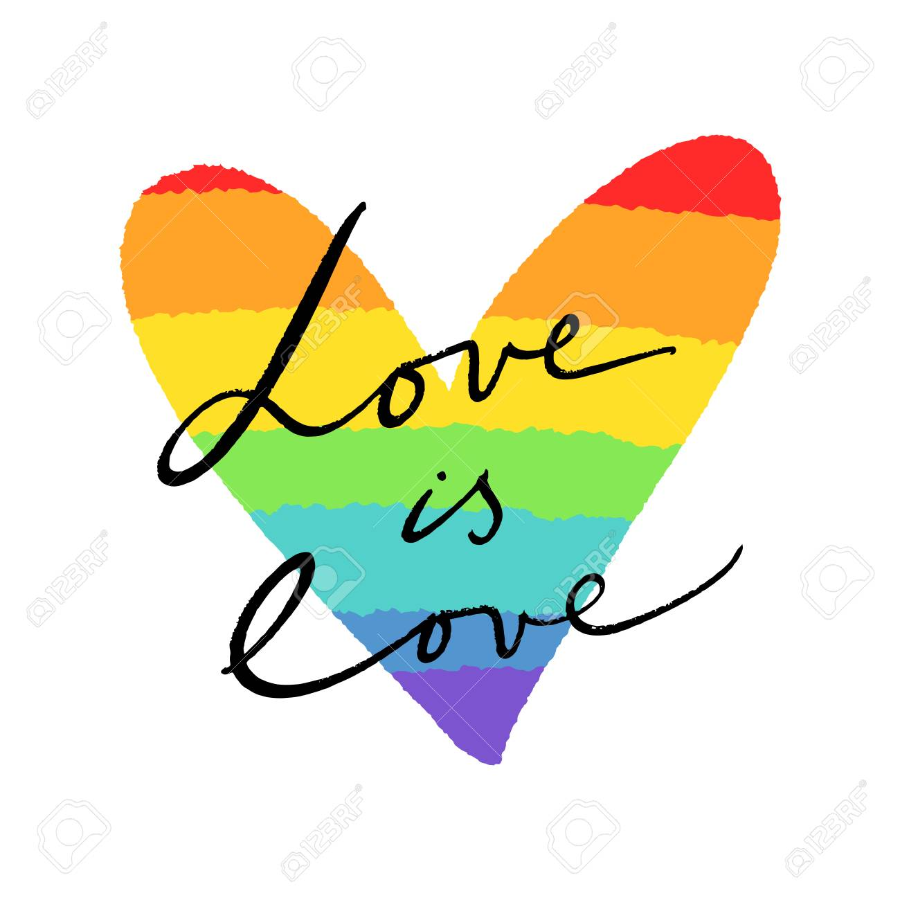 LGBT heart flag and lettering text. Hand drawn colors of the rainbow. Freedom and love concept. Badge or sticker. - 115939369