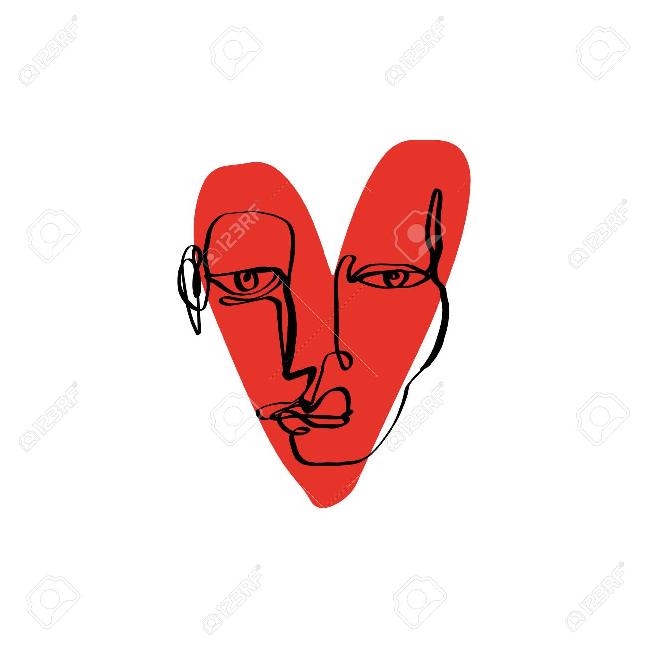 Abstract face one line modern drawing. Portrait in minimalistic style. - 127323375