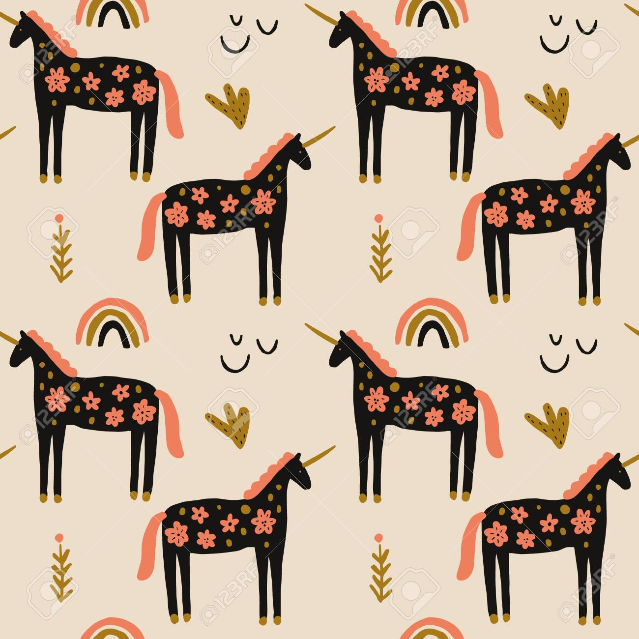 Boho Unicorn Concept Folk Art Horse Slovak Seamless Pattern Royalty Free Cliparts Vectors And Stock Illustration Image 140864105