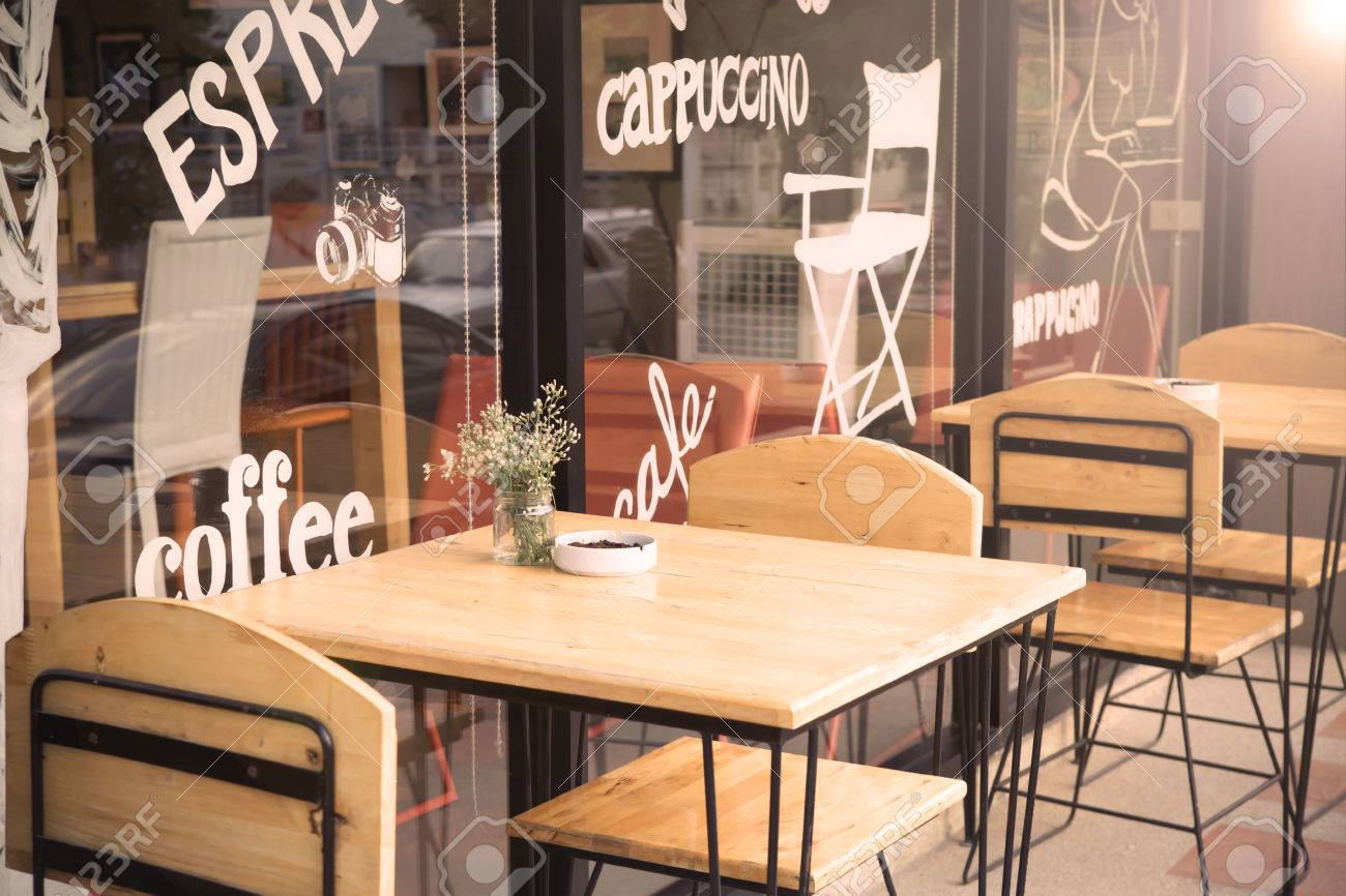 Picture of: Selective Focus Of Table Of Coffee Shop Outside View With Vintage Stock Photo Picture And Royalty Free Image Image 63405443
