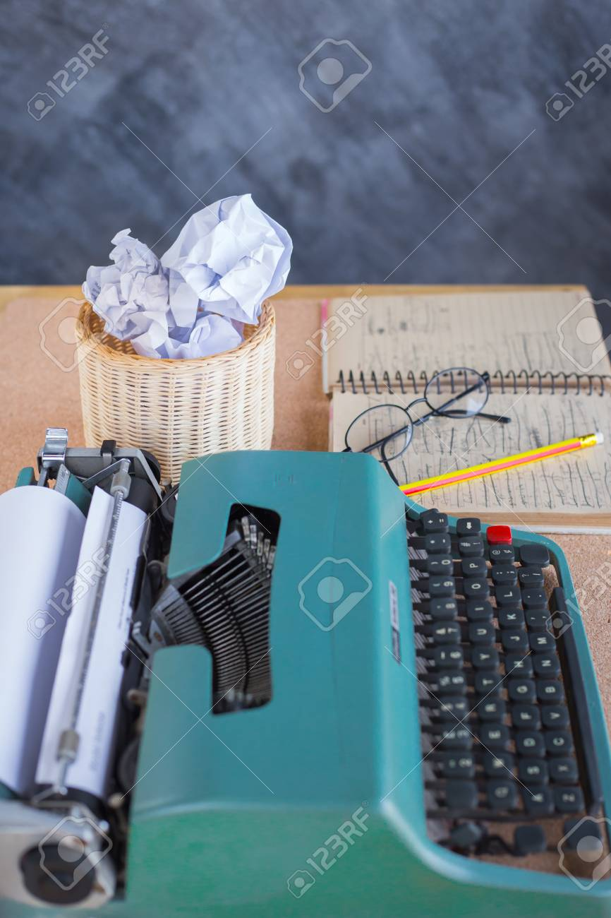Typewriter On Wooden Desk Background With Papers Ready For A Stock Photo Picture And Royalty Free Image Image 100109732