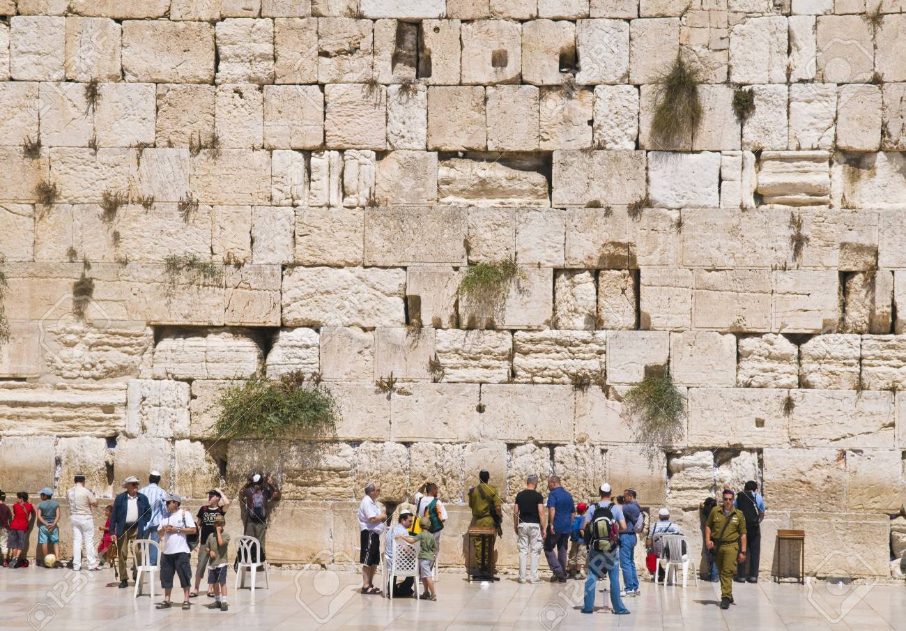 JERUSALEM , ISRAEL - AUG 06 2008 : The western wall Important Jewish religious site located in the Old City of Jerusalem  Stock Photo - 8717681