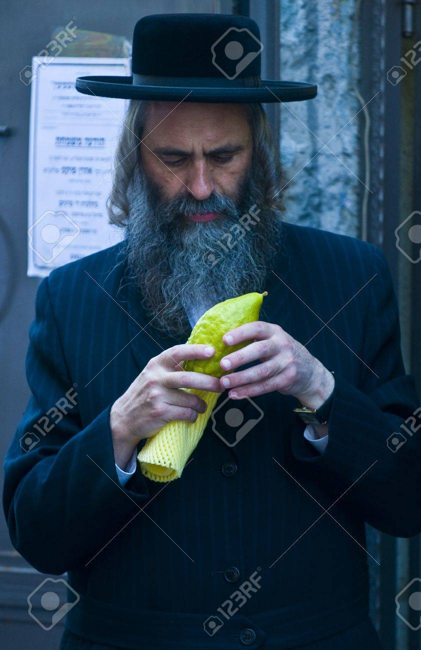 JERUSALEM - OCTOBER 10 2011 : An ultra-orthodox Jewish man inspects an Etrog Stock Photo - 10839134