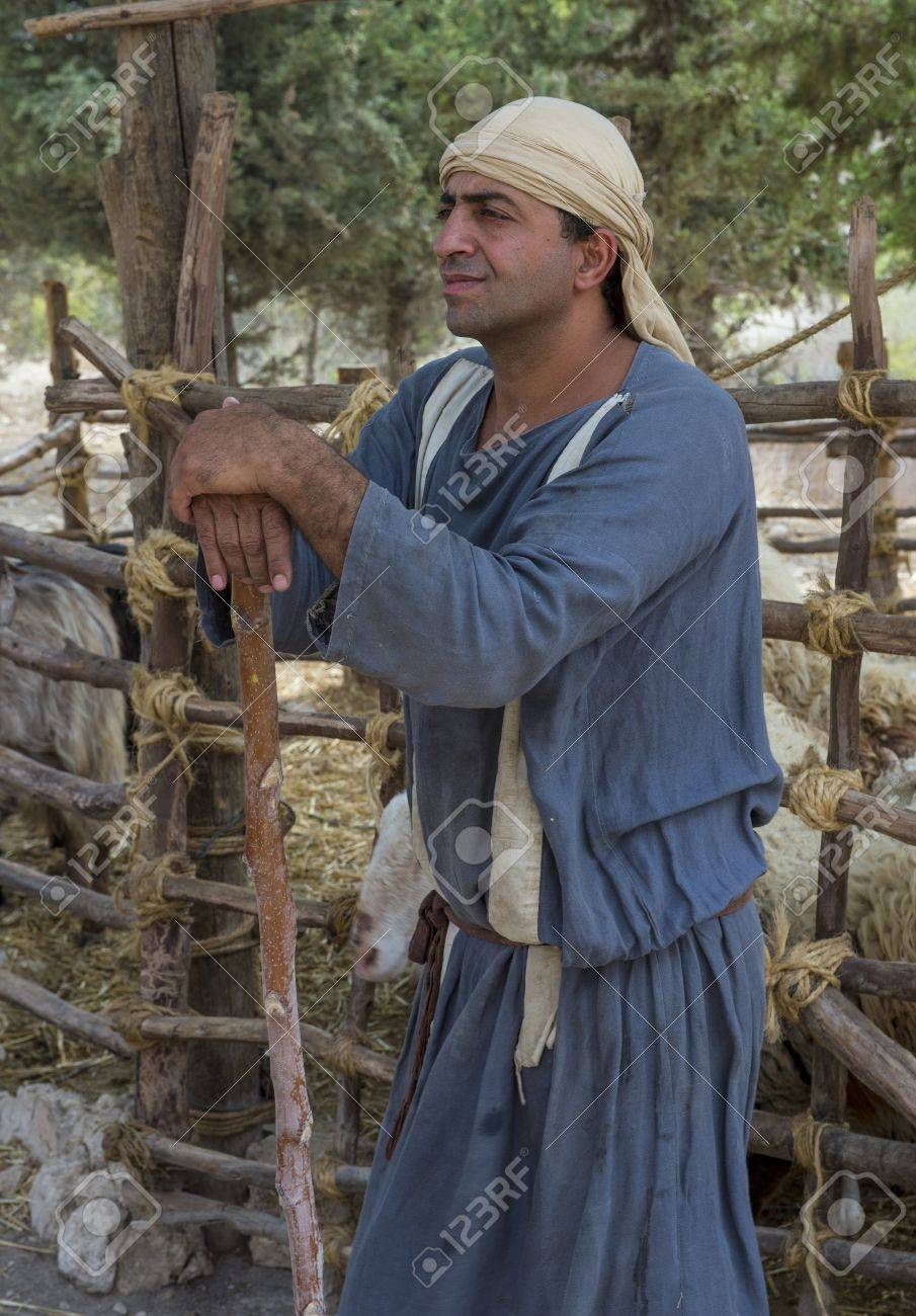 NAZARETH, ISRAEL - OCT 15 : Portrait of Palestinian shepherd with traditional clothing in October 15 2012 at Nazareth Village, historical re-creation of Nazareth as it was at the time of Christ Stock Photo - 16994322