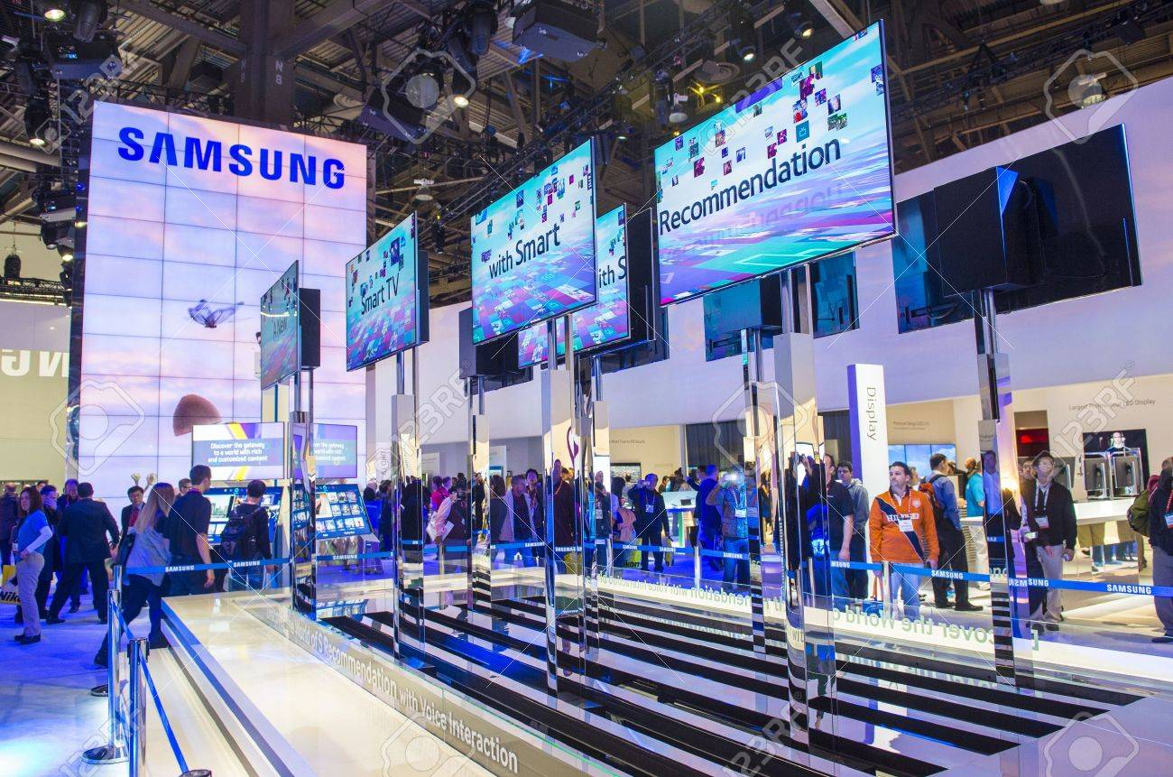 LAS VEGAS - JANUARY 11 : The Samsung booth at the CES show held in Las Vegas on January 11 2013 , CES is the world's leading consumer-electronics show and companies from all over the world come to show their latest technologies and products. - 17326884