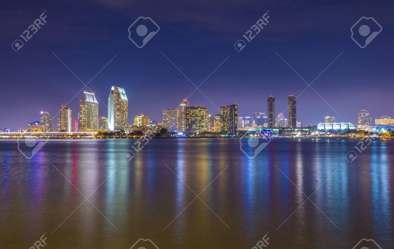 San Diego skyline at night as seen from coronado peninsula - 22545934