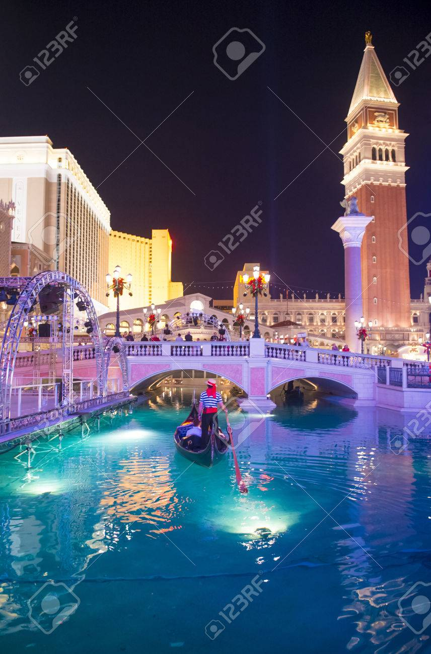 LAS VEGAS - NOV 15 : The Venetian hotel and replica of a Grand canal in Las Vegas on November 15, 2013. With more than 4000 suites it`s one of the most famous hotels in the world - 25260845