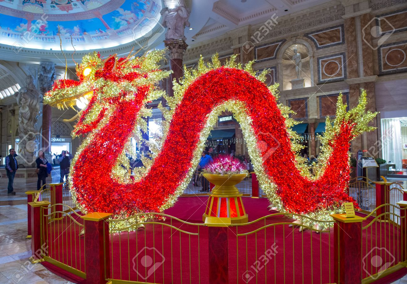 LAS VEGAS   FEB 18 : Chinese New Year Decorations At The Ceasars Palace On  February